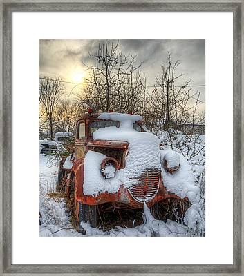 Framed Print featuring the photograph Stuck In The Snow by Micah Goff