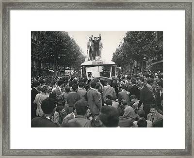 Student Clash With Police Is Boisterous Demonstration Framed Print by Retro Images Archive