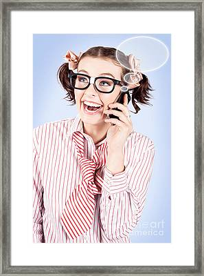 Student On A Mobile Call With Speech Bubbles Framed Print by Jorgo Photography - Wall Art Gallery