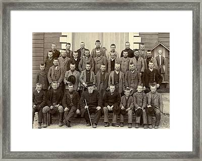 Students And Their Headmaster Framed Print by Underwood Archives