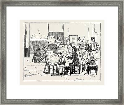 Students Life In A Continental Art School The Antique Room Framed Print by English School