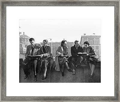 Students Study At Columbia Framed Print