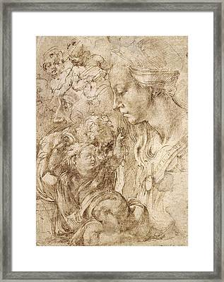 Studies For A Holy Family Framed Print by Michelangelo Buonarroti