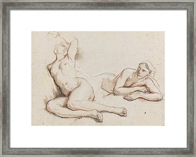 Studies Of Two Female Nudes Framed Print