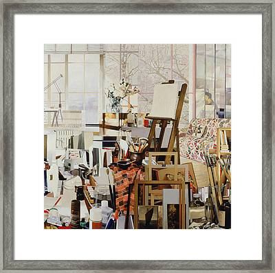Studio, 1986 Oil On Canvas Framed Print by Jeremy Annett