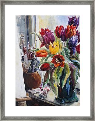 Studio Corner With Tulips Framed Print by Barbara Pommerenke