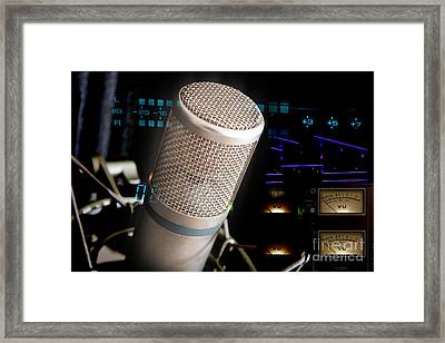 Framed Print featuring the photograph Studio Microphone And Recording Gear by Gunter Nezhoda
