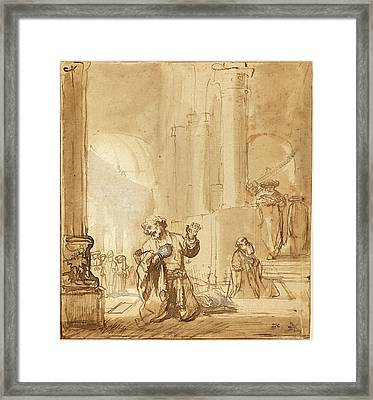 Studio Of Rembrandt Van Rijn, The Parable Of The Publican Framed Print by Quint Lox