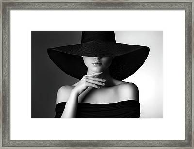 Studio Shot Of Young Beautiful Woman Framed Print