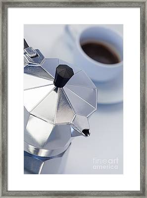 Studio Still Life Of Italian Style Expresso Maker With Expresso  Framed Print