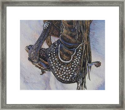 Studs Spurs And Worn Leather Framed Print