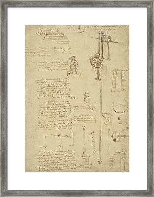 Study And Calculations For Determining Friction Drawing With Notes On Gardens Of Milanese Palace Framed Print by Leonardo Da Vinci
