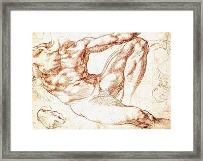 Study For Adam Framed Print by Michelangelo Buonarroti