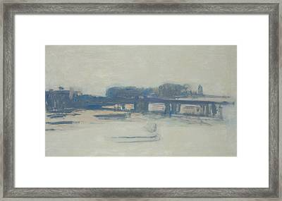 Study For Charing Cross Bridge, 1899-1901 Oil On Canvas Framed Print by Claude Monet