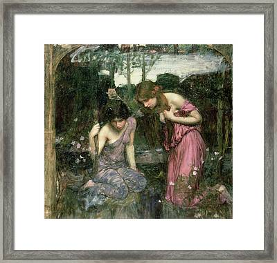 Study For Nymphs Finding The Head Of Orpheus, C.1900 Oil On Canvas Framed Print by John William Waterhouse