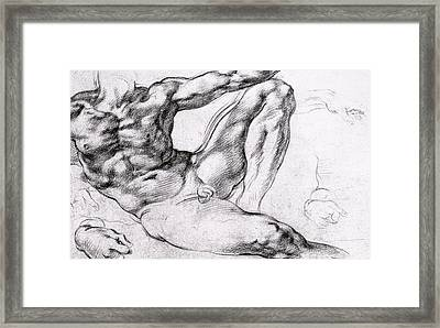 Study For The Creation Of Adam Framed Print by Michelangelo
