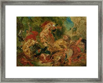 Study For The Lion Hunt, 1854 Oil On Canvas Framed Print by Ferdinand Victor Eugene Delacroix