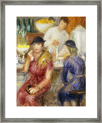 Study For The Soda Fountain Framed Print by William James Glackens