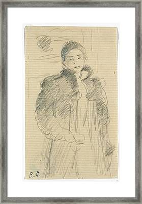 Study For Young Girl In A Green Coat Framed Print by Berthe Morisot