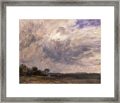 Study Of A Cloudy Sky Cloud Study Landscape With Grey Windy Framed Print