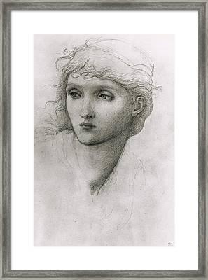 Study Of A Girls Head Framed Print by Sir Edward Coley Burne-Jones