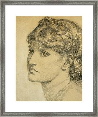Study Of A Head For The Bower Meadow Framed Print by Dante Charles Gabriel Rossetti