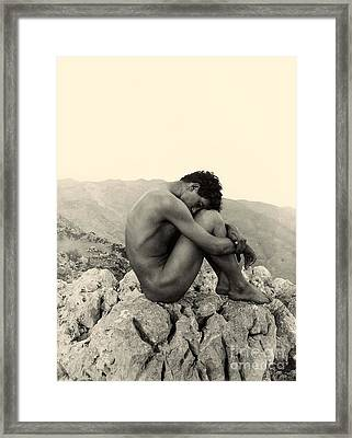 Study Of A Male Nude On A Rock In Taormina Sicily Framed Print