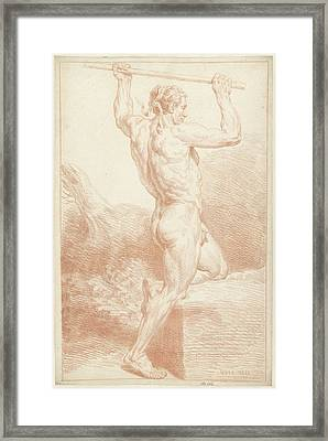 Study Of A Male Nude, On One Knee, With A Stick Framed Print by Quint Lox