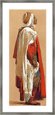 Study Of A Man In Oriental Costume Framed Print by Isidore Pils