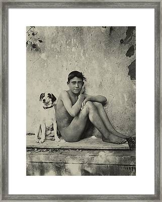 Study Of A Nude Boy With Dog Framed Print by Wilhelm von Gloeden