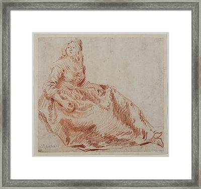Study Of A Seated Woman Jean-baptiste Pater Framed Print by Litz Collection