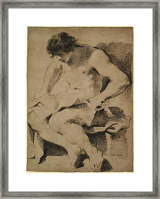Study Of A Seated Young Man Guercino Giovanni Francesco Framed Print by Litz Collection
