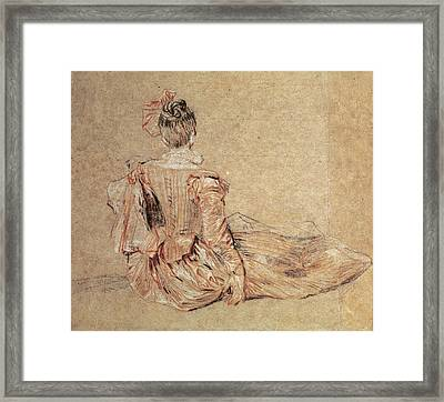 Study Of A Woman Seen From The Back, 1716-18 Chalk On Paper Framed Print by Jean Antoine Watteau