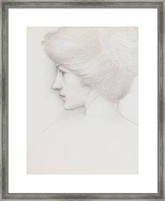 Study Of A Woman's Head Profile To Left Framed Print by Sir Edward Coley Burne-Jones