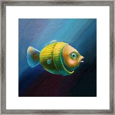 Study Of A Worried Sweater Fish Lateral View Pillow Framed Print by Vanessa Bates