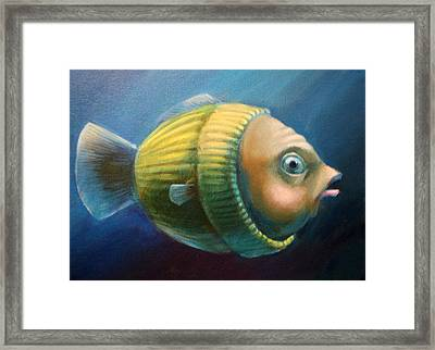 Study Of A Worried Sweater Fish Lateral View Framed Print by Vanessa Bates