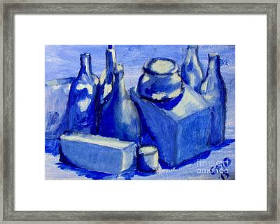 Study Of Boxes And Bottles Framed Print by Greg Mason Burns