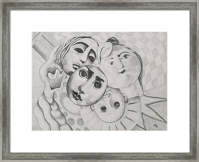 Study Of Faces In Pencil Framed Print by Carolyn Hubbard-Ford