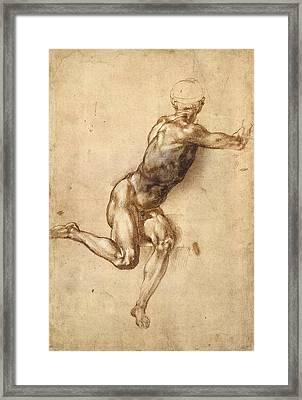 Study Of Figure To Battle Of Cascina Framed Print by Michelangelo Buonarroti