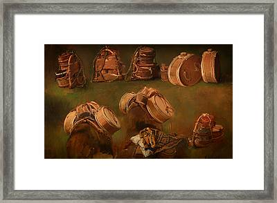 Study Of Pack Saddles And Other Objects Framed Print