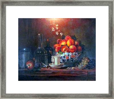 Framed Print featuring the painting Study Of Peaches by Donna Tucker