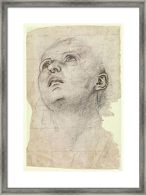 Study Of The Head Of A Youth Gazing Framed Print by Workshop of Perugino