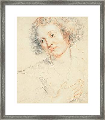 Study Of The Head Of St. Apollonia Framed Print by Peter Paul Rubens