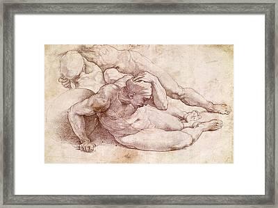 Study Of Three Male Figures Framed Print by Michelangelo Buonarroti