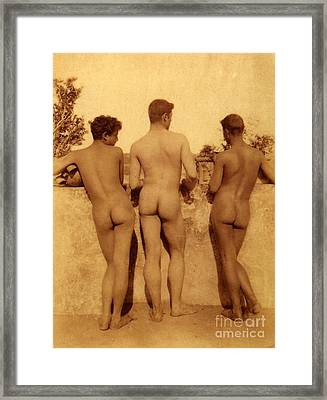 Study Of Three Male Nudes Framed Print by Wilhelm von Gloeden