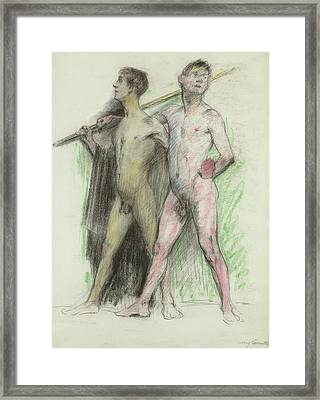 Study Of Two Male Figures  Framed Print by Lovis Corinth