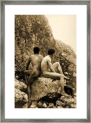 Study Of Two Male Nudes Sitting Back To Back Framed Print by Wilhelm von Gloeden