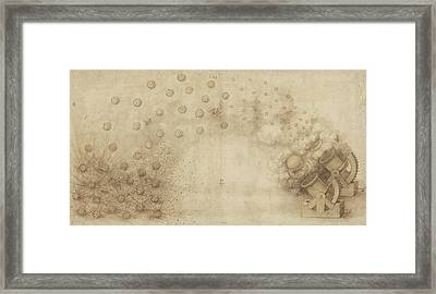 Study Of Two Mortars For Throwing Explosive Bombs From Atlantic Codex Framed Print by Leonardo Da Vinci