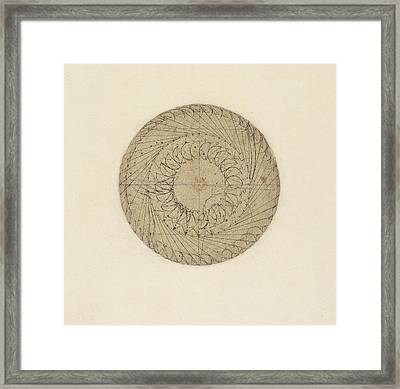 Study Of Water Wheel From Atlantic Codex  Framed Print by Leonardo Da Vinci