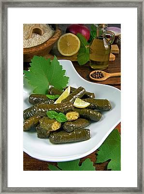 Stuffed Vine Leaves, Dolmades, Arabic Framed Print